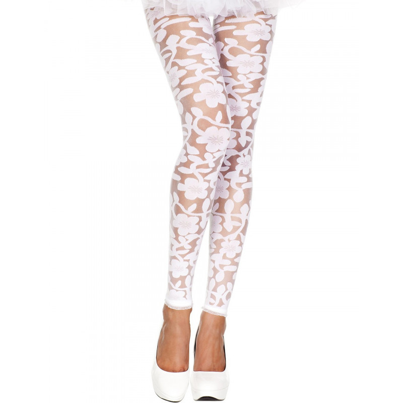Legging blanc fin transparent motif fleuri - MH35344WHT