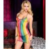 Mini robe fines bretelles  en résille  dos nu  - ML56110RAI