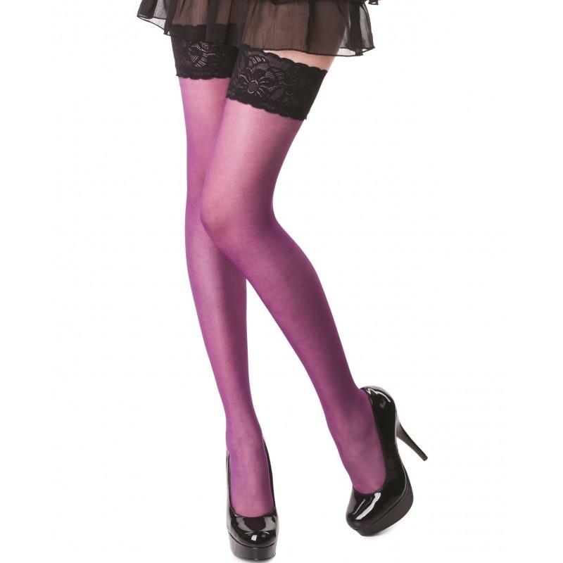 Barbara bas violet et jarretière noire
