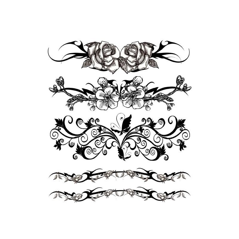 Tatouage éphémère - Plaque de 5 tattoos  - TATribal 1