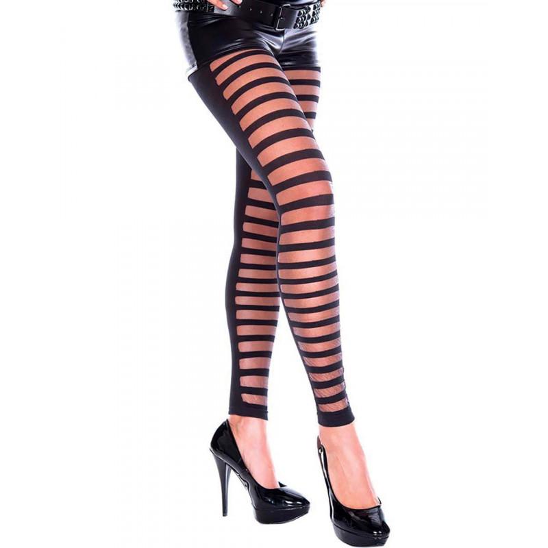 Legging fashion noir avec avant ajouré et transparence - MH35005BLK
