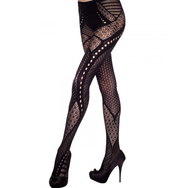 Collant fantaisie noir effet glamour - MH50048BLK