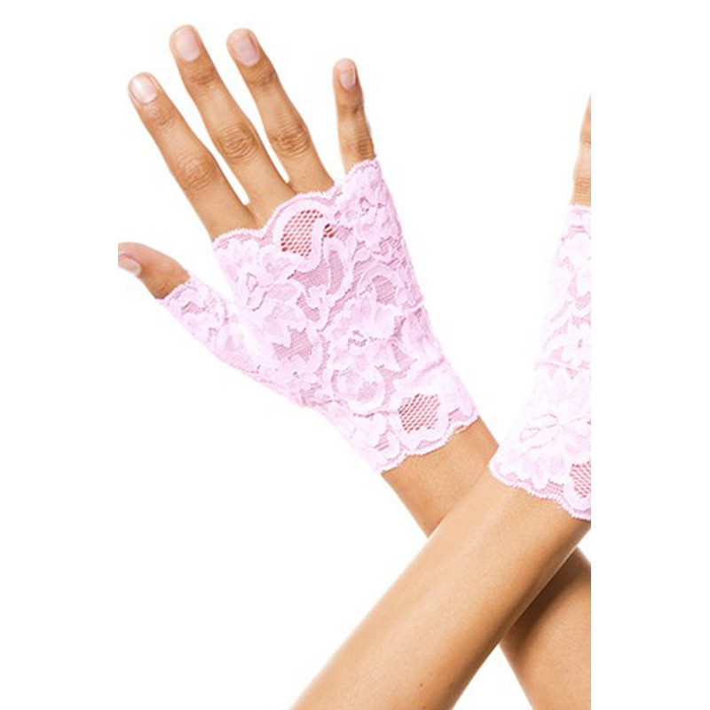 Gants roses doigts ouverts dentelle florale - ML416BPN