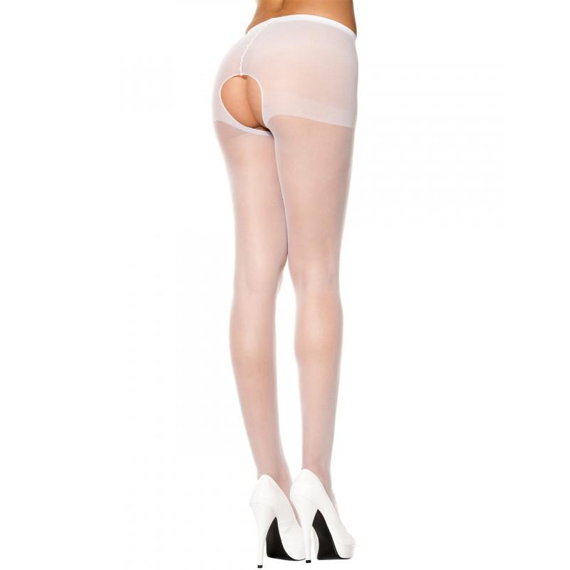 Collant blanc sexy ouvert à l'entre-jambes - MH800WHT