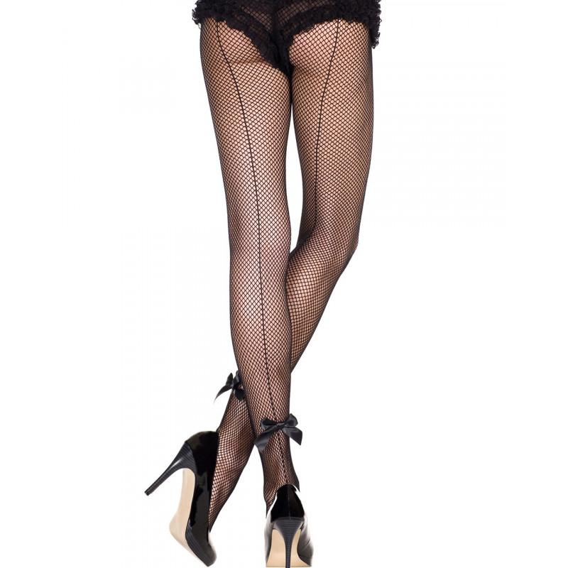 Collant sexy resille noir avec couture et noeuds satinés - MH925BLK