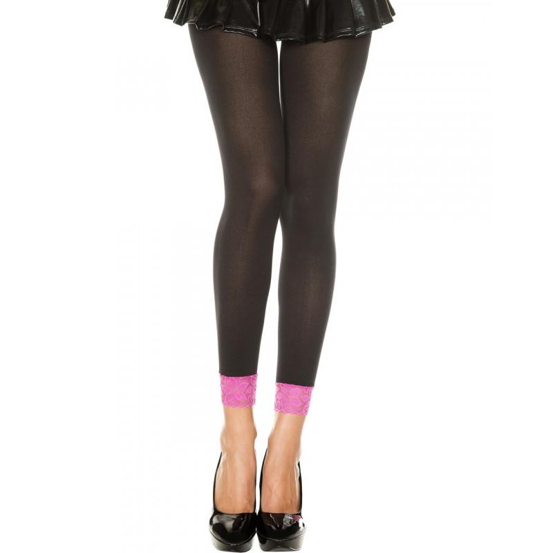 Legging fin opaque noir dentelle rose - MH7478BKP