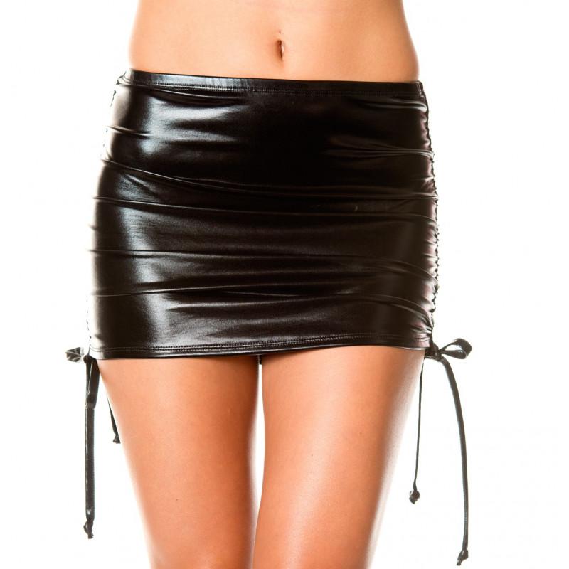 Mini jupe droite  effet métallique  liens pour ajuster hauteur - ML154BLK