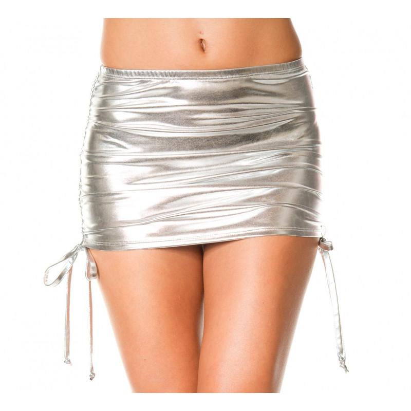 Mini jupe droite  effet métallique  liens pour ajuster hauteur - ML154SIL