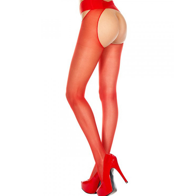 Collant nylon rouge ouvert - MH334RED