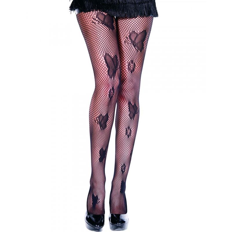 Collant sexy résille noir avec papillons - MH50020BLK
