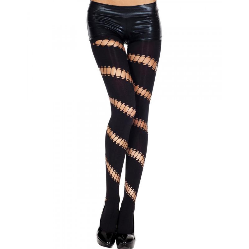Collant legging noir opaque ajouré asymétrique - MH7267BLK