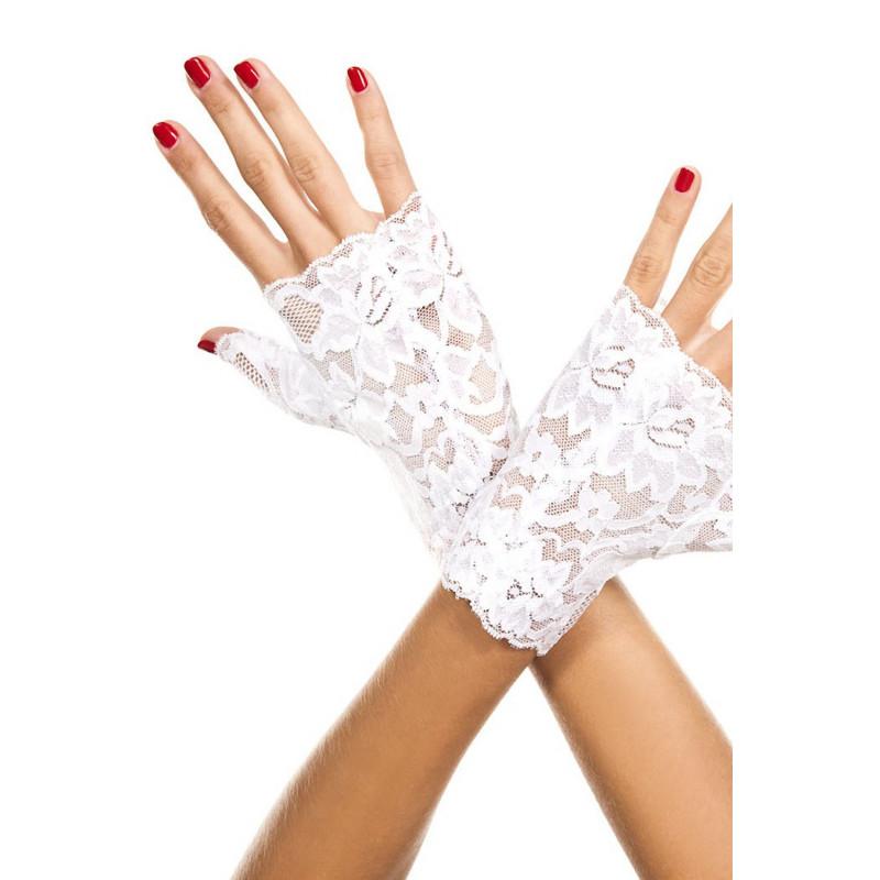 Gants blancs doigts ouverts dentelle florale - ML416WHT