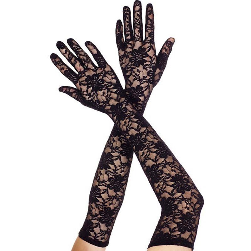 Gants longs en dentelle florale noire - ML464BLK