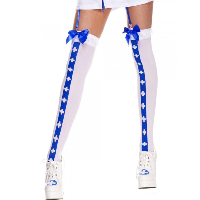 Bas sexy blanc avec bande bleu croix nfirmière et noeuds satinés - MH4780WBL