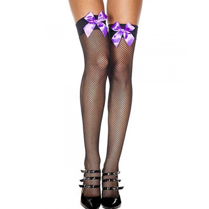 Bas noirs autofixants fine résille et noeuds violets satinés - MH4912BPU