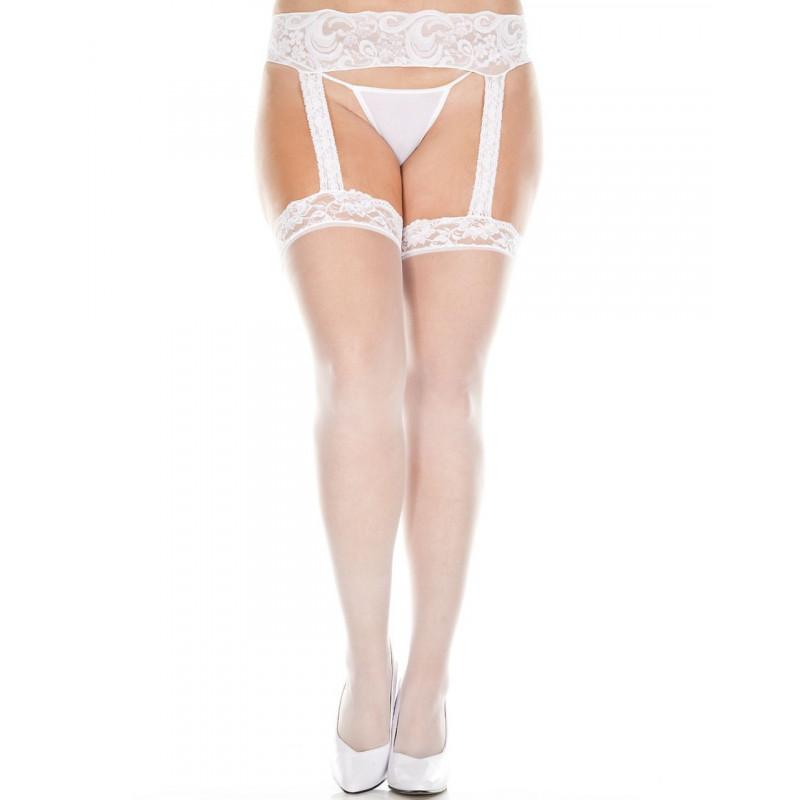 Collant blanc grande taille effet porte-jarretelles et dentelle - MH7800XWHT