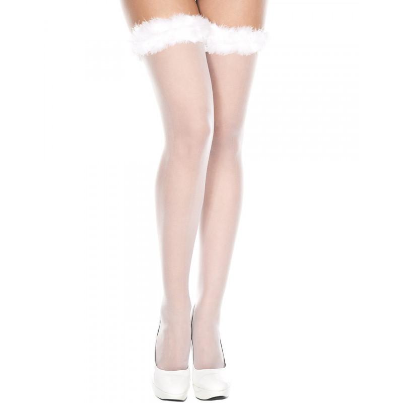 Bas autofixants voile blanc jarretières duvet doux - MH4104WHT