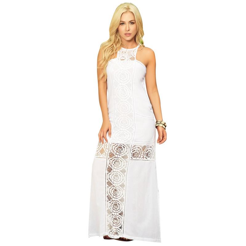 Robe longue blanche fendue avec broderie - MAR4602WHT