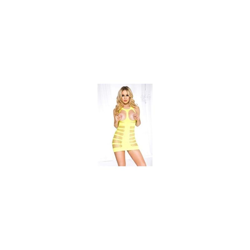 Mini robe tour de cou  dos nu  ouverte poitrine  quadrillage résille  - ML6736NEY
