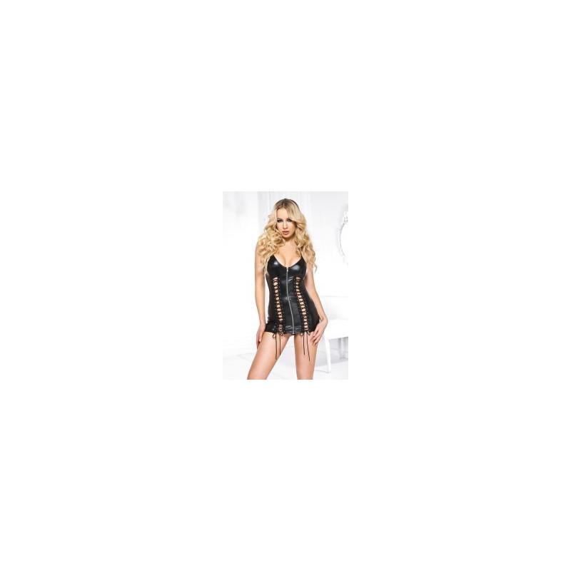 Mini robe wet look  tour de cou  laçage de chaque côtés devant - ML60066BLK