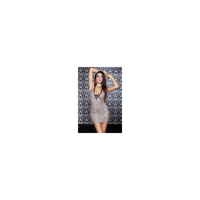 Mini robe tour de cou  encolure en V  - ML56602LEO