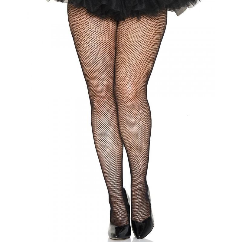 Collant noir résille grande taille - MH9001XBLK