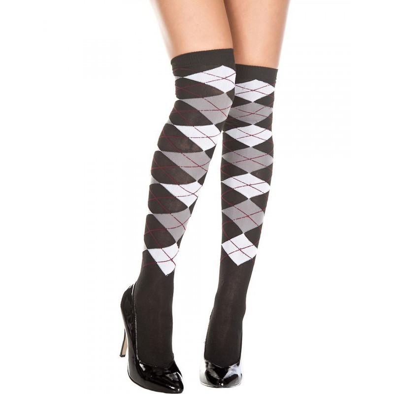 Chaussettes Bas fins noirs acrylique motif écossais blanc gris - MH4630BWG