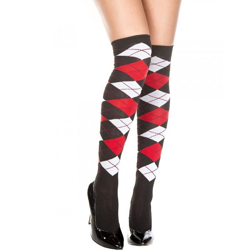 Chaussettes Bas fins noirs acrylique motif écossais blanc rouge - MH4630BWR