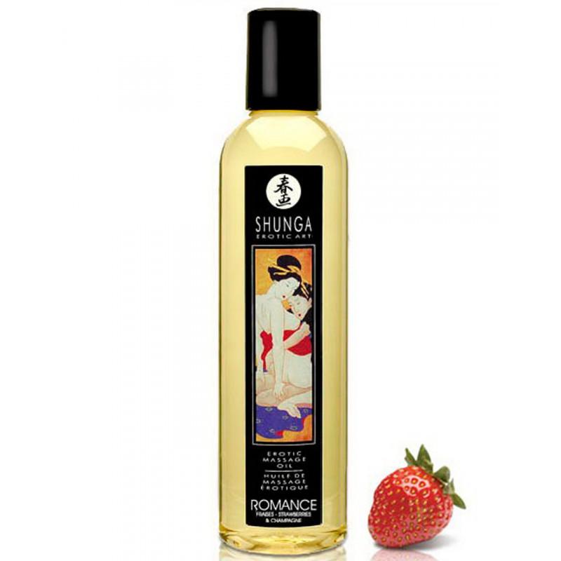 Huile de massage aphrodisiaque fraise vin pétillant 250ml - CC811008