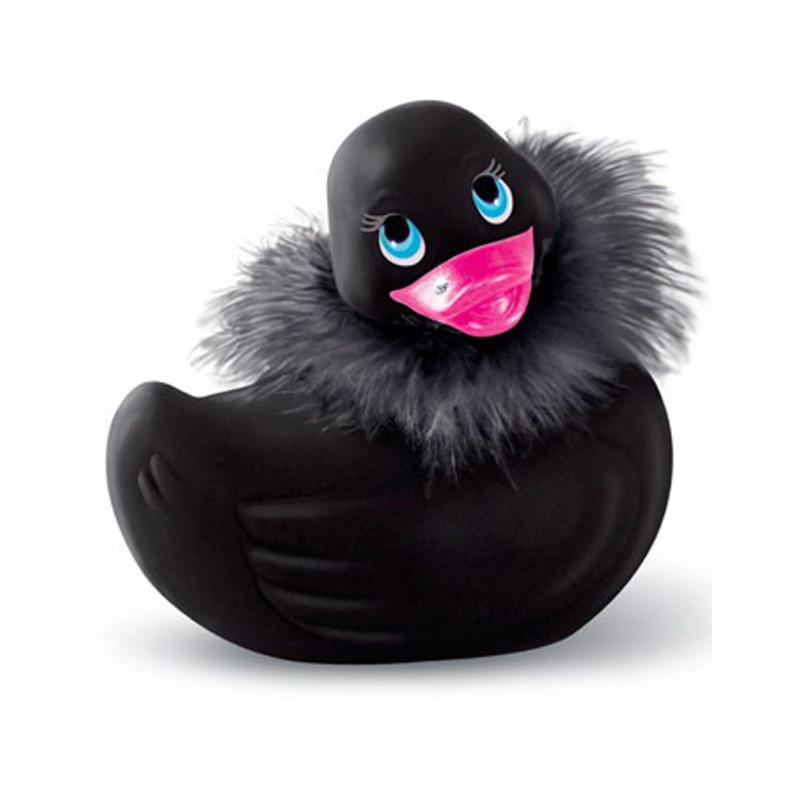 Canard vibrant noir avec fourrure et Swarovski - CC504015