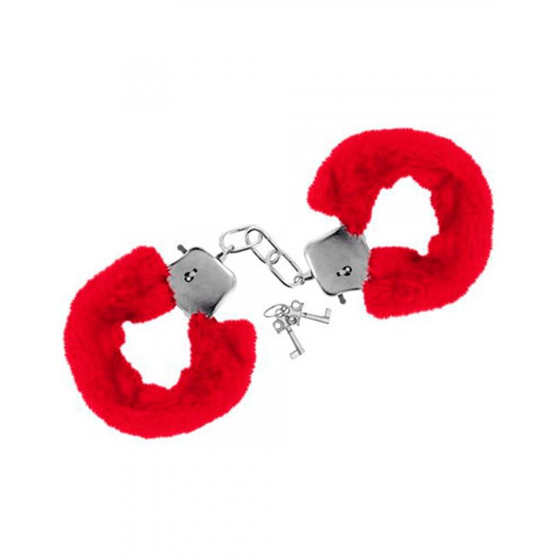Menottes fourrure rouges de poignets avec sécurité - CC5140030030