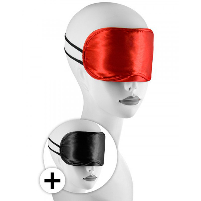 Large masque satin lot de 2 rouge et noir - CC570038