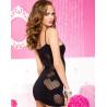 Robe sexy courte noire ajourée avec coeurs résille - ML6668BLK