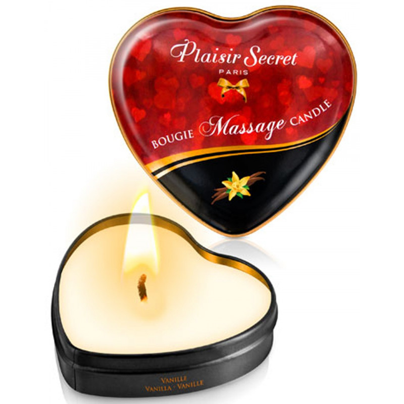 Mini bougie de massage à la vanille boîte coeur 35ml - CC826062
