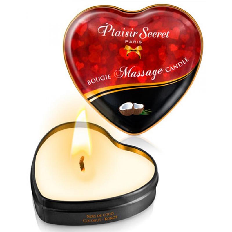 Mini bougie de massage noix de coco boîte coeur 35ml - CC826065