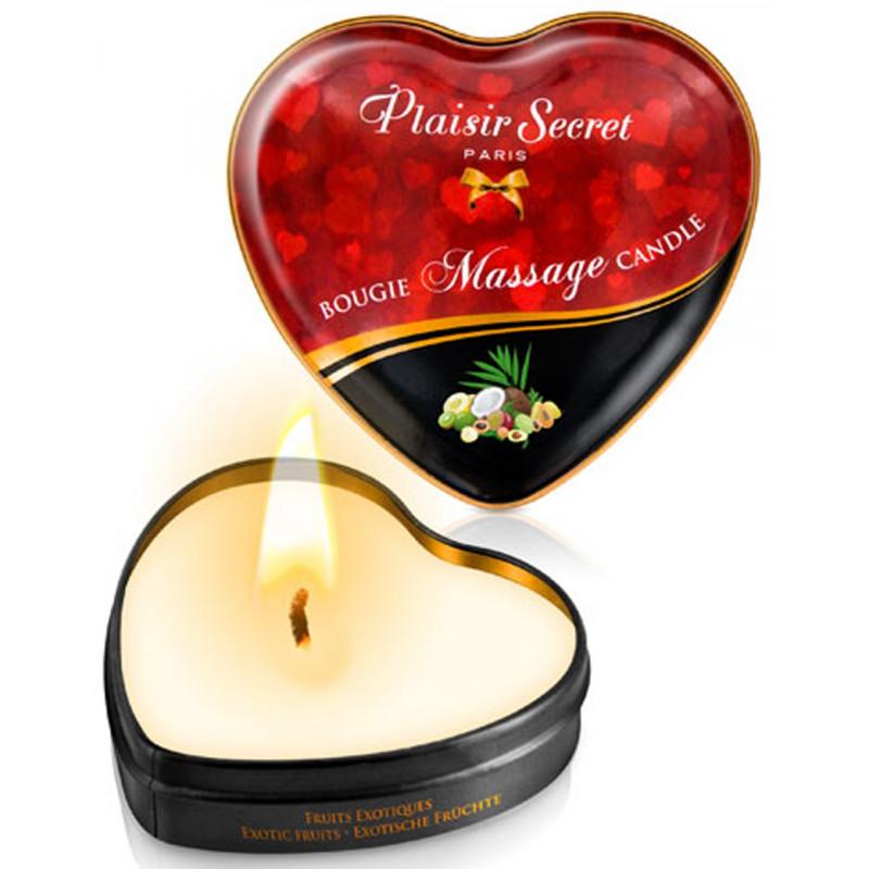 Mini bougie de massage fruits exotiques boîte coeur 35ml - CC826067