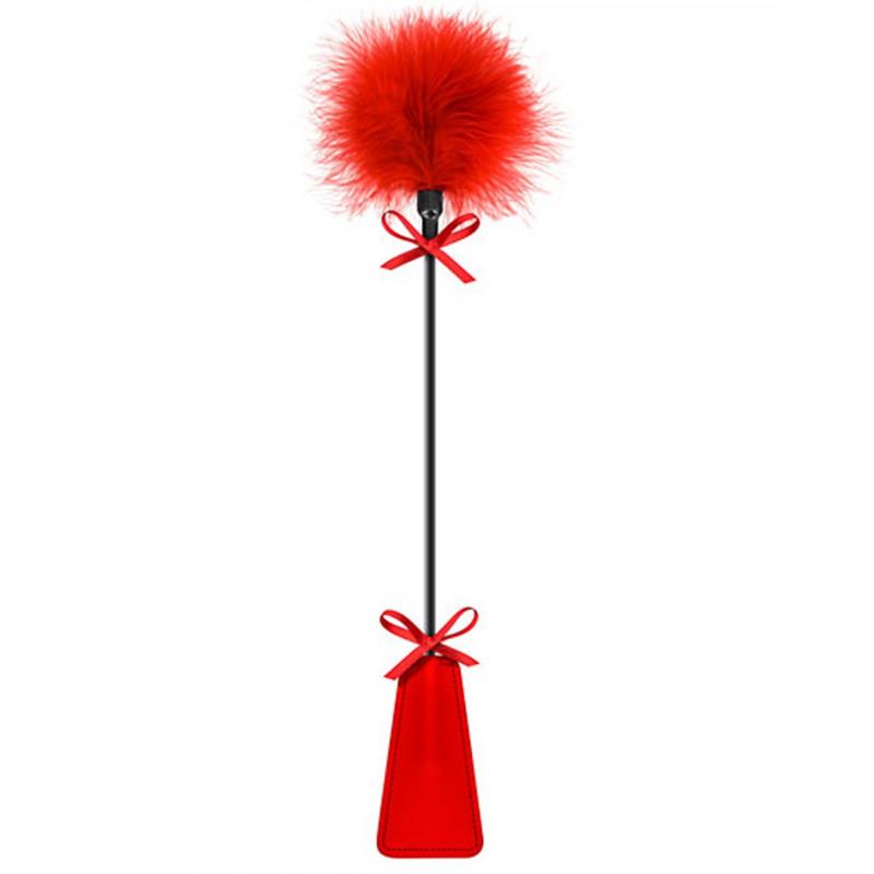 Cravache rouge bdsm avec plumeau - CC5700770030