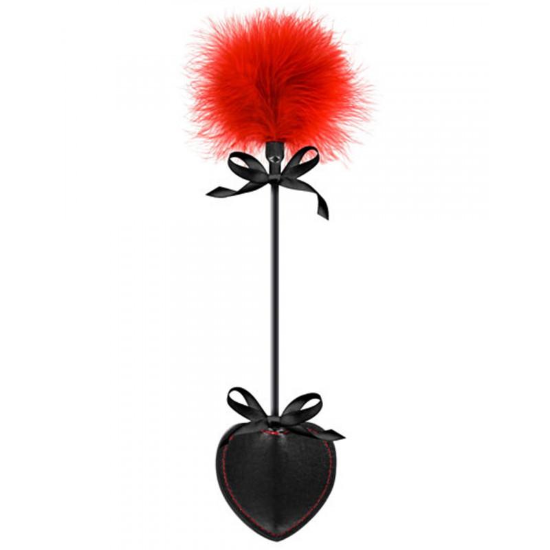Cravache coeur noire bdsm avec plumeau rouge - CC570073