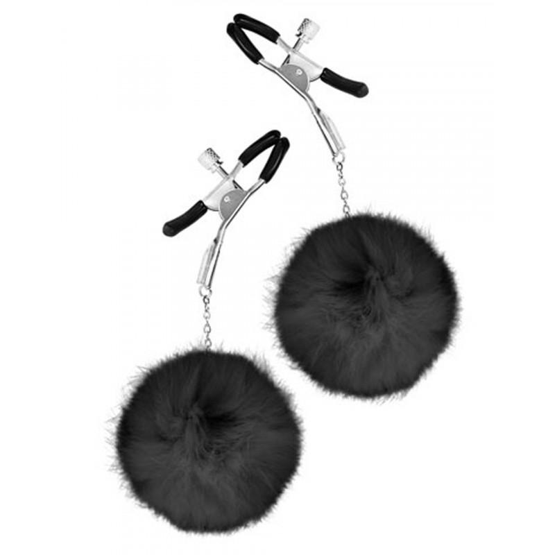 Pinces à seins pression réglable pompons noirs - CC5700720010