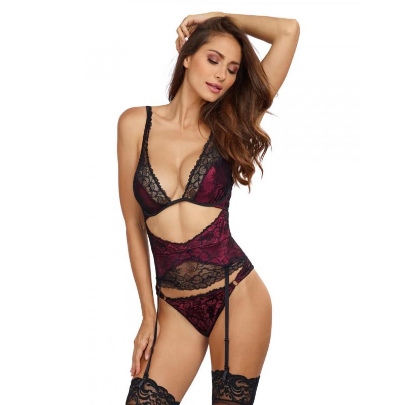 Body effet ensemble lingerie bordeaux soutien-gorge porte-jarretelles serre taille et tanga - DG11007RAS