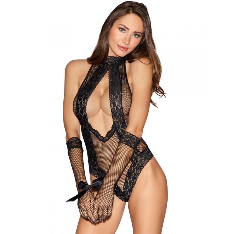 Body noir résille dentelle avec gants longs menottes - DG11040BLK