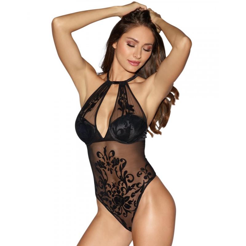 Body string noir maille transparente et motifs poitrine coquées avec armatures - DG10999BLK