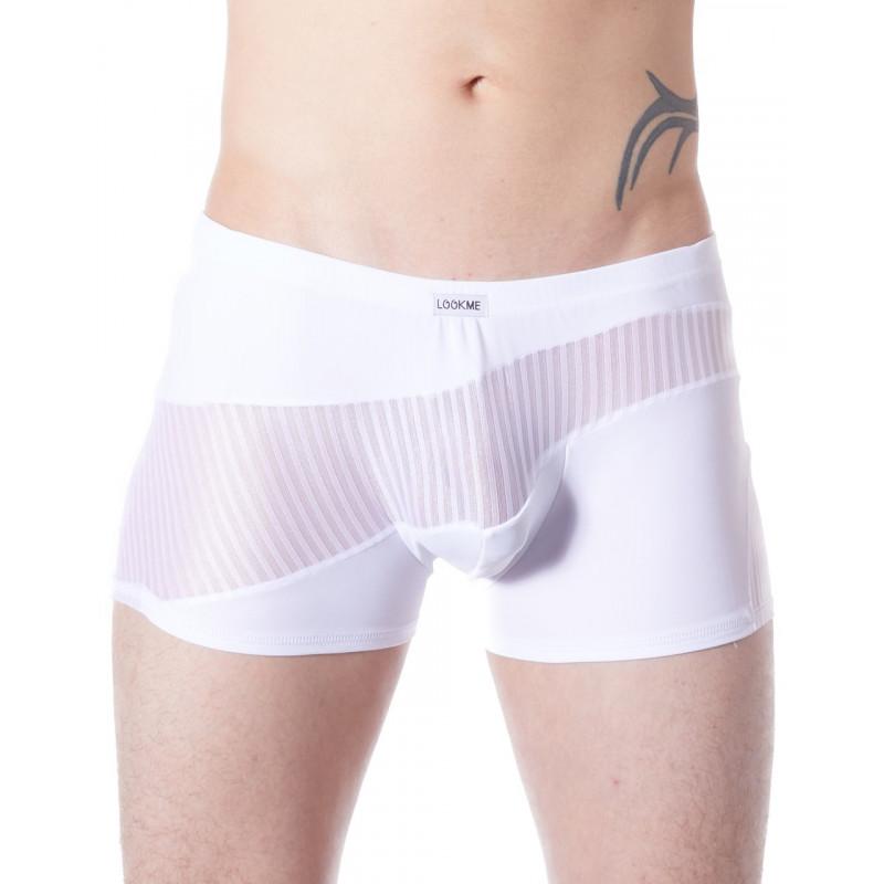 Boxer blanc opaque et transparent avec fines rayures - LM803-67WHT