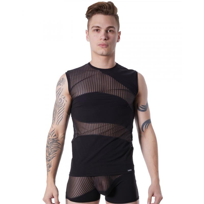 T-shirt débardeur noir col rond opaque et transparent avec fines rayures - LM803-77BLK