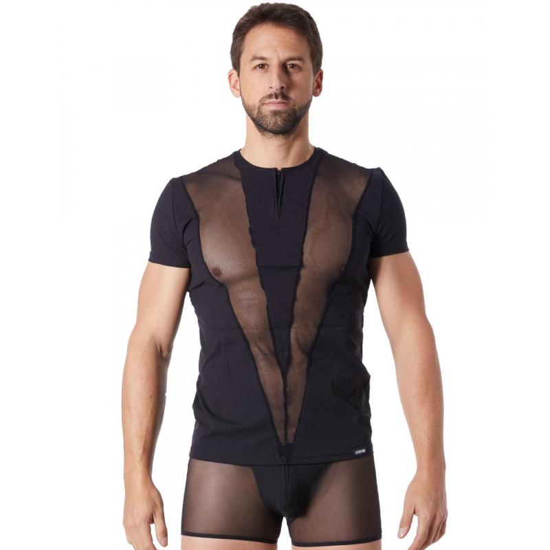 T-Shirt noir doux avec bandes résille col rond et zip - LM805-81BLK