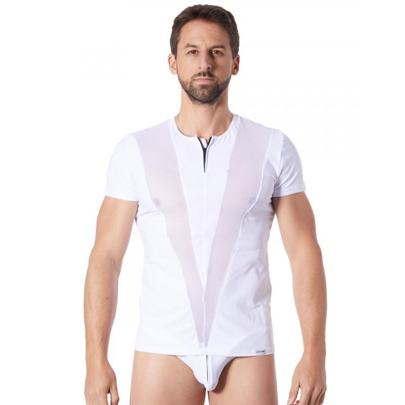 T-Shirt blanc doux avec bandes résille col rond et zip - LM805-81WHT