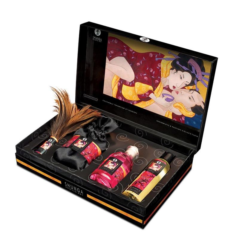 Coffret sensuel huiles de massage plumeau et poudre de corps - CC819500