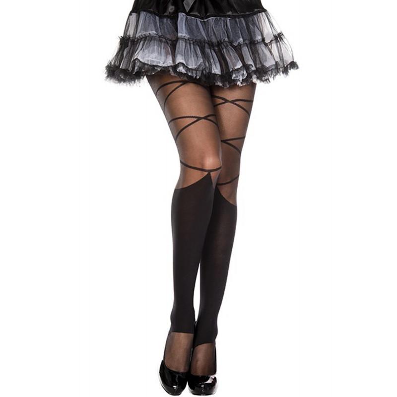 Collant nylon fantaisie noir effet jambières et lacets - MH7133BLK