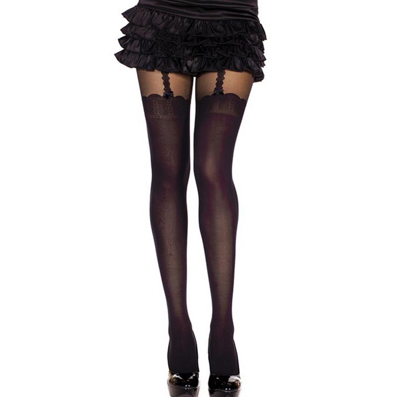 Collant nylon fantaisie opaque noir style bas jarreteles - MH7247BLK
