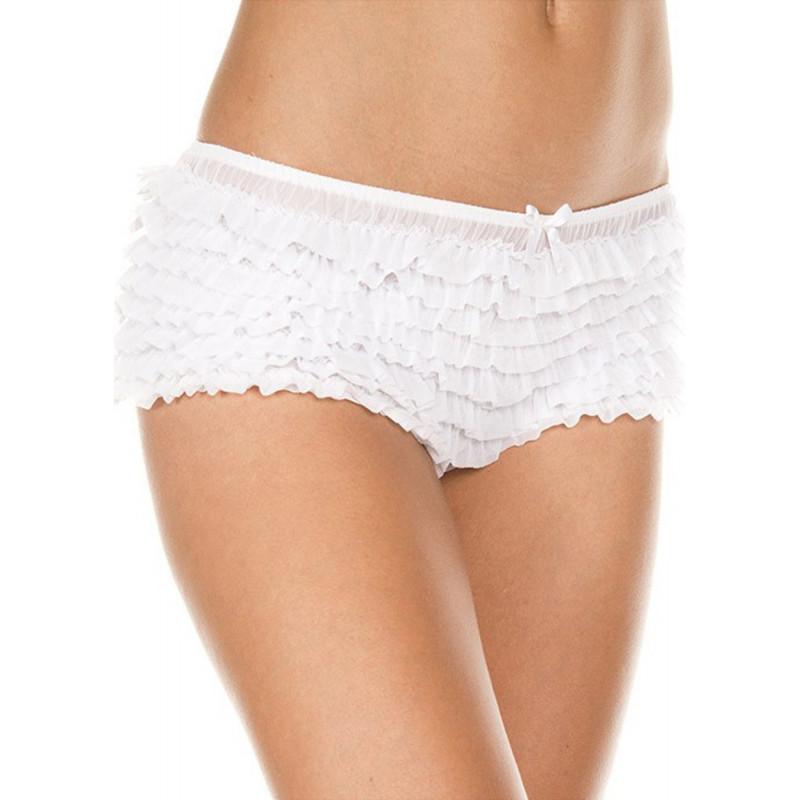 Culotte rétro blanche froufrou sexy - ML117WHT
